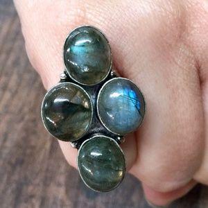 Jewelry - Blue Fire Labradorite + Sterling Silver 925 Ring
